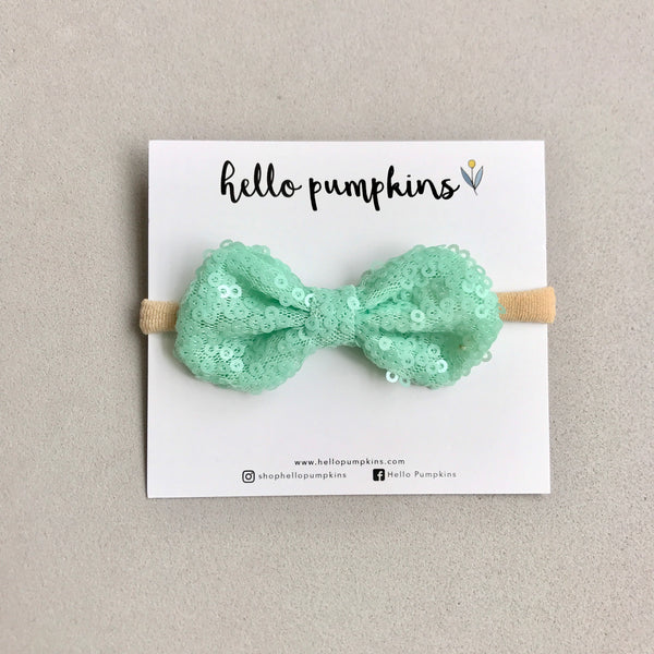 Mini Sequin Bow Headband Set - Pastel
