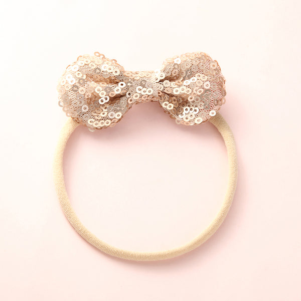 Mini Sequin Bow Headband - Gold