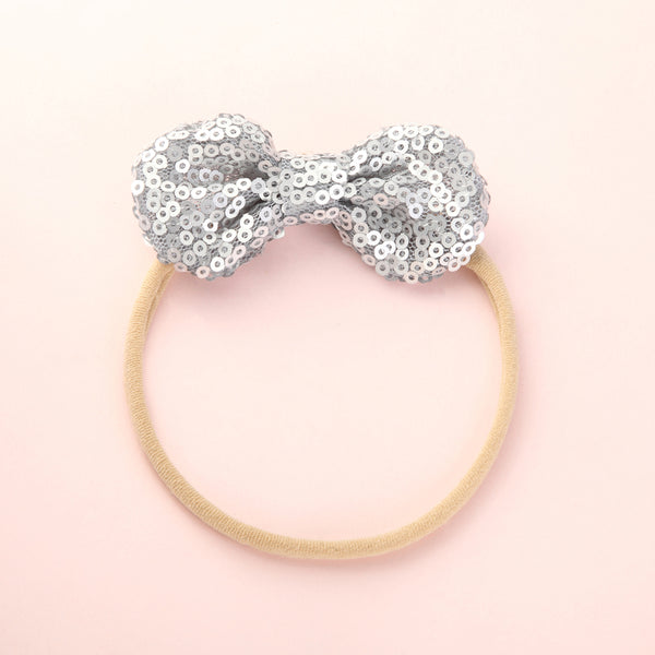 Mini Sequin Bow Headband - Silver