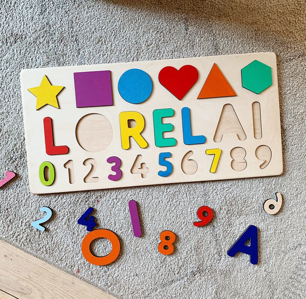 Custom Name Board with Shapes & Numbers in BRIGHT rainbow