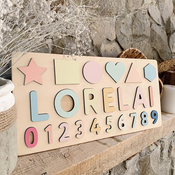 Custom Name Board with Shapes & Numbers in PASTEL rainbow