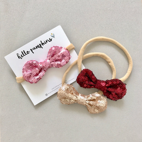 Mini Sequin Bow Headband Set - Party Day