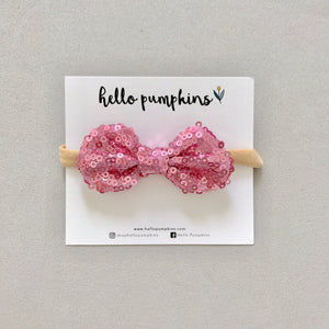 Mini Sequin Bow Headband - Mulberry