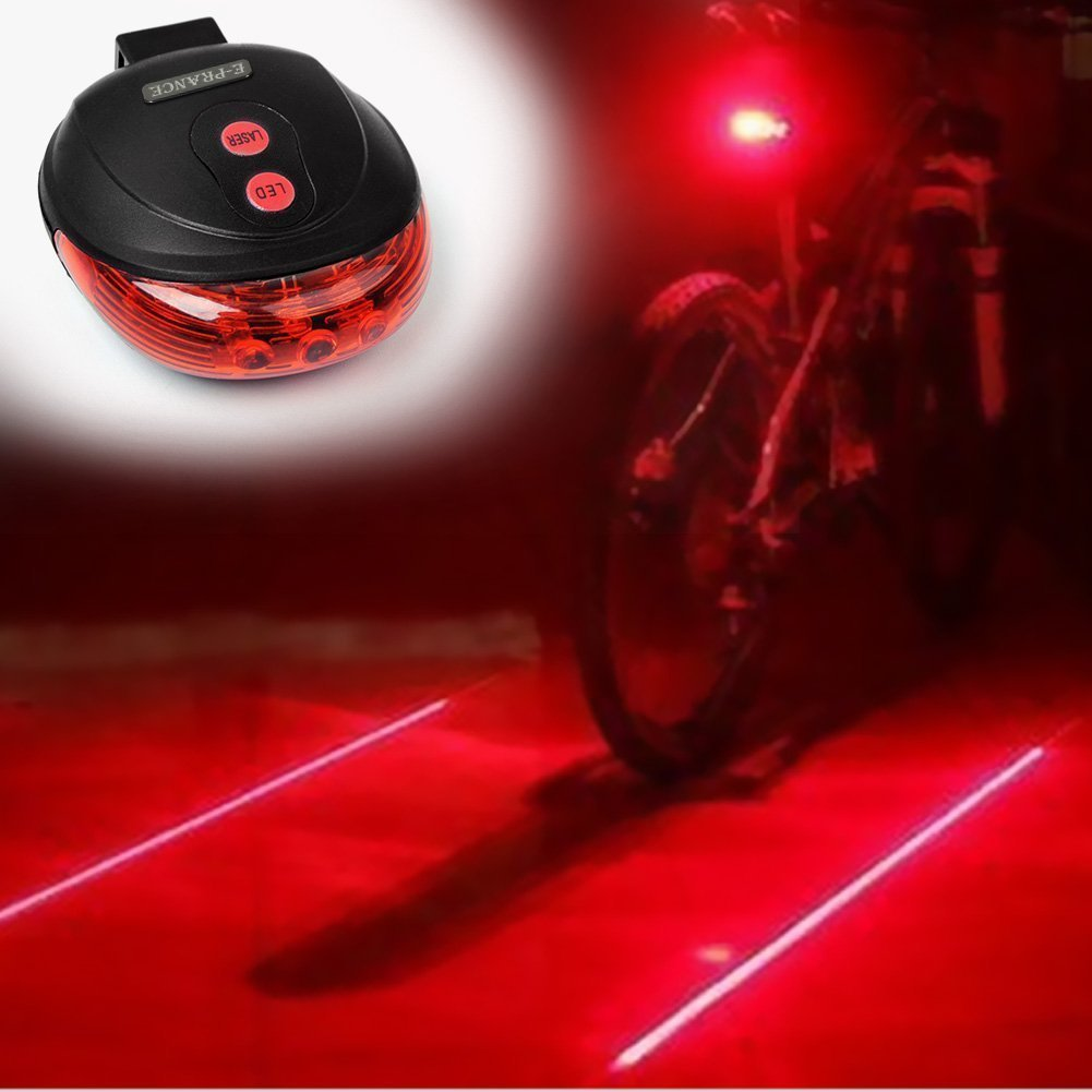 Bicycle laser taillights mountain bike 5LED warning lights bicycle riding equipment accessories off-road bicycle taillights