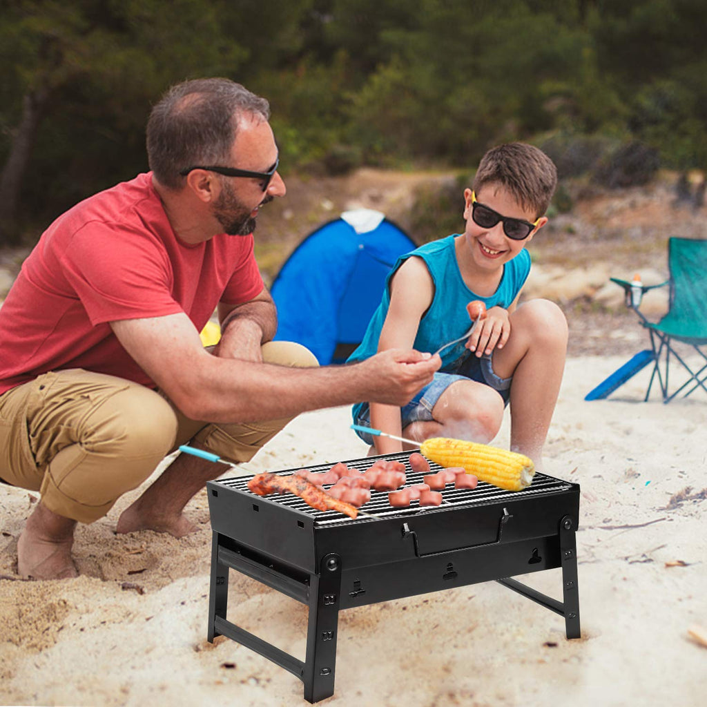 Outdoor portable folding barbecue BBQ camping BBQ charcoal grill small black steel