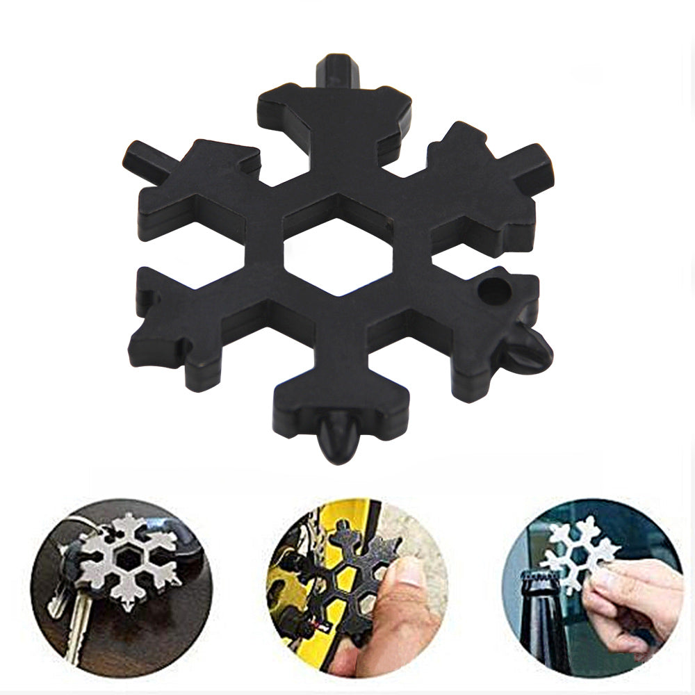 Snowflake tool card multi-function stainless steel keychain multi-purpose gadget