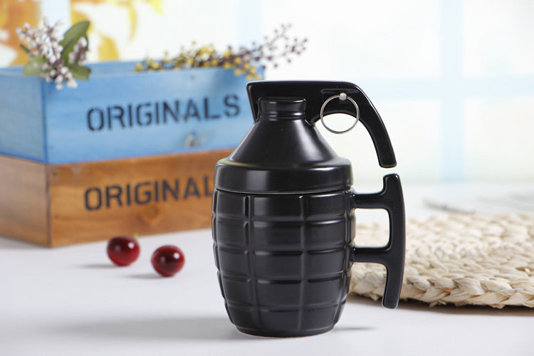 Grenade Cup Creative Cover Foreign Trade Original Mug Office Hand Grenade Ceramic Coffee Cup Couple Funny Cup