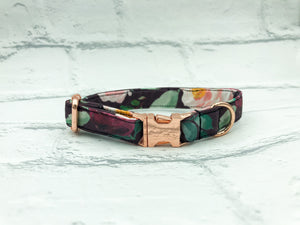Burgundy Wild at Heart Fabric Collar
