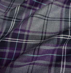 Purple Tartan Bandana, Over the Collar,