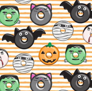 Halloween Feast Doughnuts Bandana, Over the collar