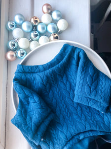 Bauble Blue Cable Knit Dog Jumper