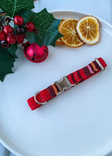 Load image into Gallery viewer, Red Tartan Christmas Fabric Collar