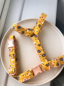 Mustard Ditsy Floral Fabric Strap Harness