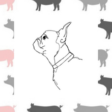 Load image into Gallery viewer, Pigs on White Fabric Collar