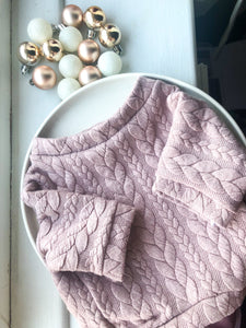Mauve Pink Cable Knit Dog Jumper