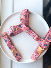 Load image into Gallery viewer, Dusty Pink Ditsy Floral Fabric Strap Harness