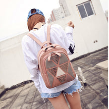 Preppy Style Women Backpack Geometric Patchwork