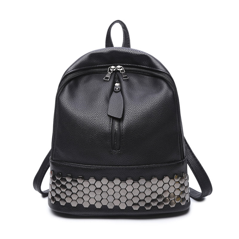 High Quality  Leather Women Backpack Preppy Style