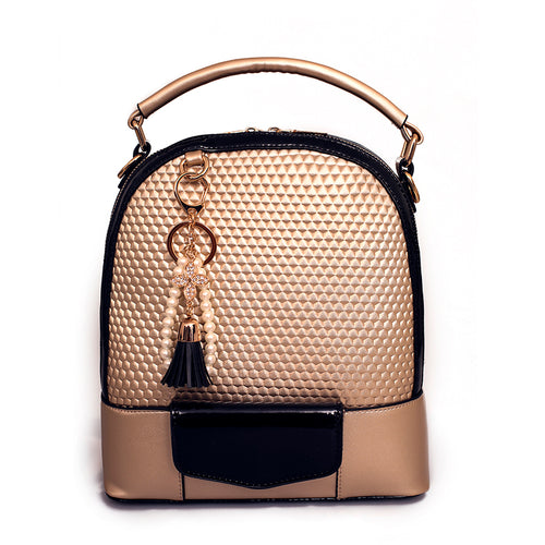 Multifunctional Women Leather Backpack with Tassel