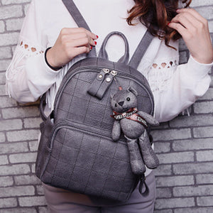 Fashion Small Bear Pendant Girls Schoolbag