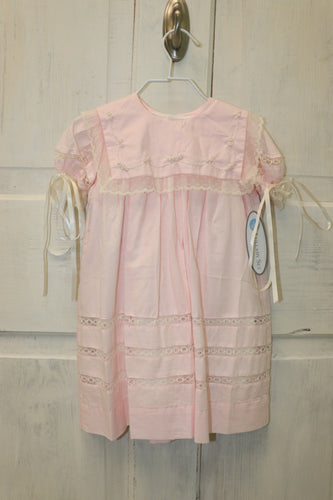 Lullaby Set Square Neck Pink Dress with Ecru Lace
