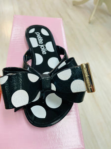 Petite Jolie black bow sandals