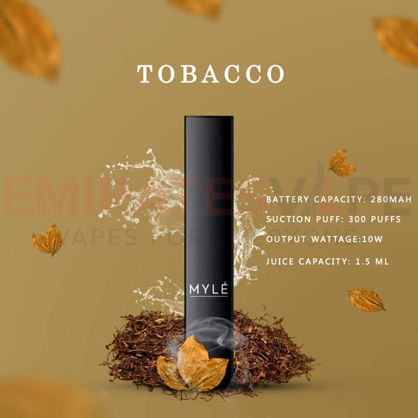 MYLE Disposable Vape Pack Tobacco - 3pcs In Each Pack!