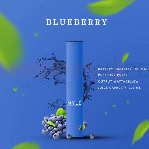 MYLE Disposable Vape Pack Blueberry - 3pcs In Each Pack!