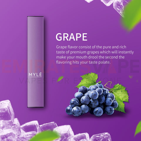 MYLE Disposable Vape Pack Grape - 3pcs In Each Pack!