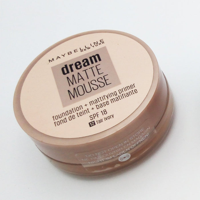 Maybelline - Dream Matte Mousse - Foundation + Mattifying Primer - Fond De Teint + Base Matifiante - SPF 18 ( 12 Fair Ivory ) - O2morny.com
