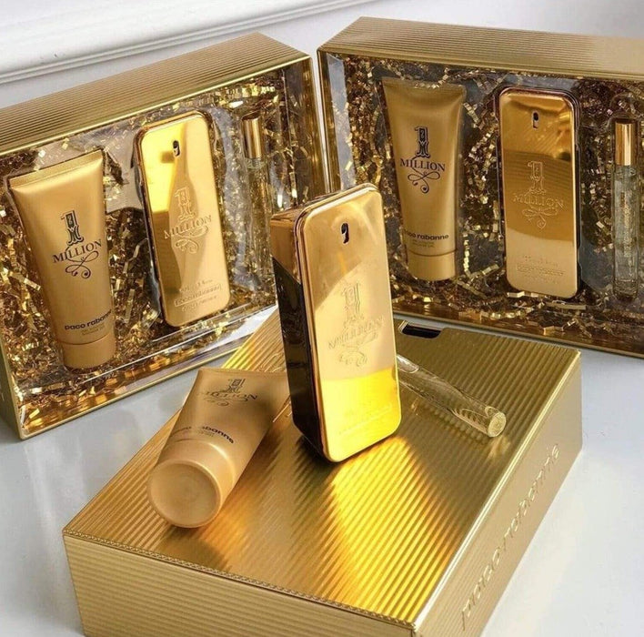 Paco Rabanne One Million Eau De Toilette Set 3 Pieces 100ml EDT + 100ml Shower Jel + 10ml EDT New Gift - O2morny.com