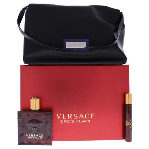 Versace Eros Flam Gift Set For Men Eau De Parfum 100ml +10ml + Pouch