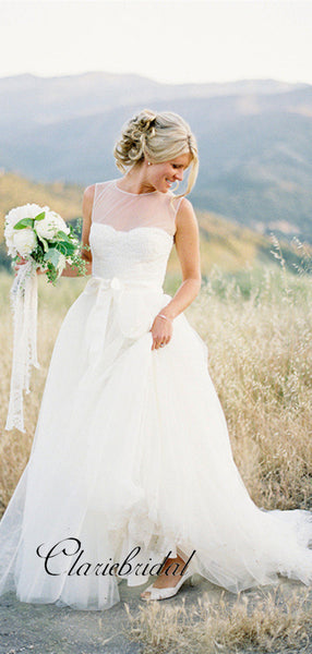 Tulle A-line Wedding Dresses, Newest Wedding Dresses, Outdoor Bridal Gowns