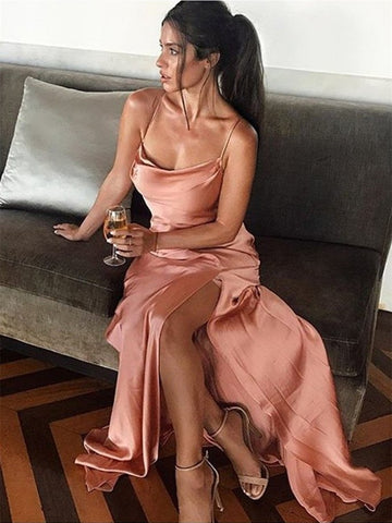 Simple Nude Color Elastic Satin Prom Dresses, Side Slit Prom Dresses, Sheath Prom Dresses