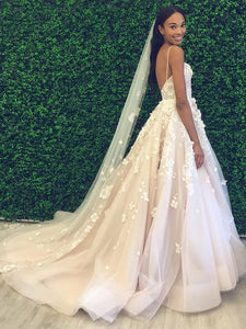 Spaghetti Long A-line Lace Appliques Wedding Dresses, Tulle Beaded Wedding Dresses, Bridal Gown