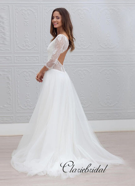 Elegant Long A-line Lace Tulle Wedding Dresses, Open Back Bridal Gown