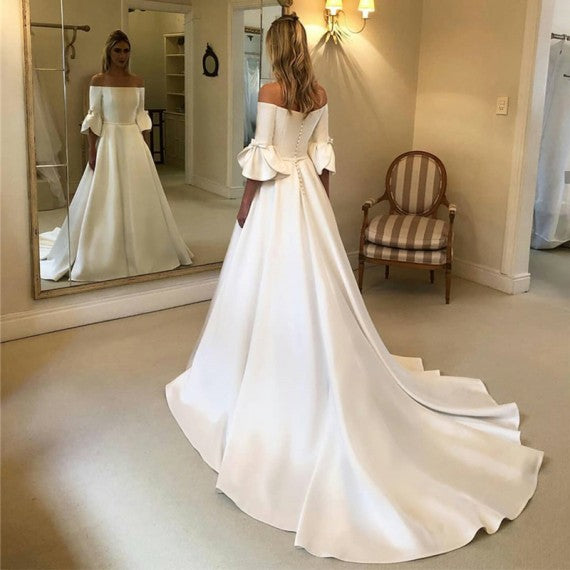 Off Shoulder Long A-line Ivory Satin Wedding Dresses, Elegant Long Wedding Dresses, Bridal Gown