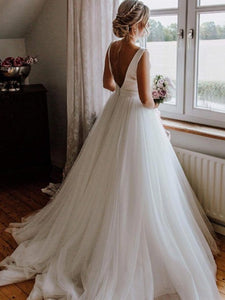 Simple Satin Top Long A-line Tulle Wedding Dresses, Popular Wedding Dresses, Long Wedding Dresses