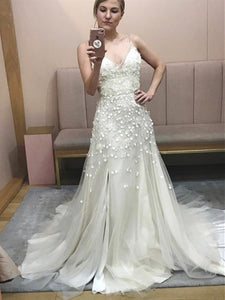 Spagetti Long A-line Lace Appliques Wedding Dresses, Side Slit Wedding Dresses, 2020 Wedding Dresses