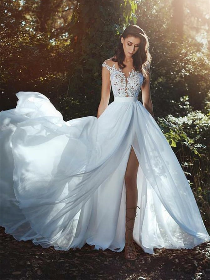 Cap Sleeves Lace Top Side Slit Wedding Dresses, Country Wedding Dresses, Long Wedding Dresses
