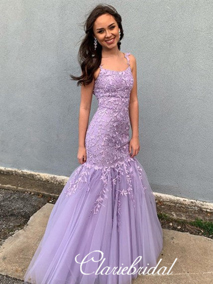 Purple Long Mermaid Lace Tulle Prom Dresses, Lovely Prom Dresses, Newest Prom Dresses