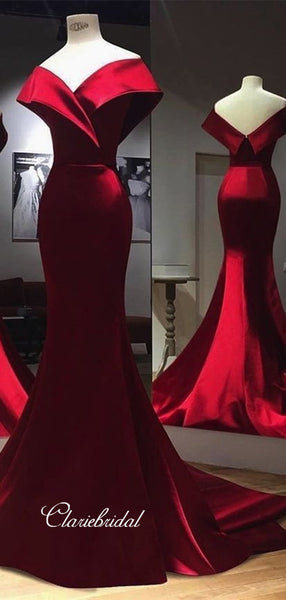 Mermaid Elegant Long Prom Dresses, Cheap Satin Popular Prom Dresses
