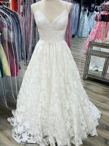 Spaghetti Straps A-line Lace Wedding Dresses, Simple Design Popular Wedding Dresses