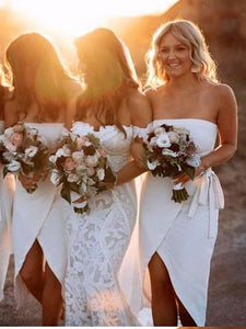 Simple Wedding Bridesmaid Dresses 2020, Strapless Wedding Guest Dresses