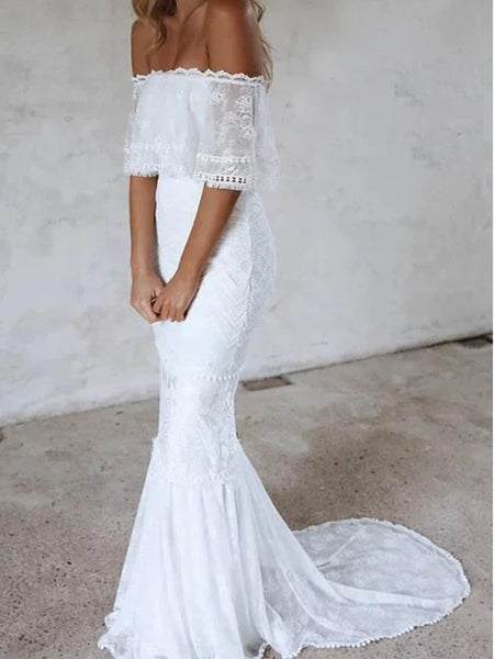 Popular Off The Shoulder Wedding Dresses, Lace 2020 Mermaid Wedding Dresses