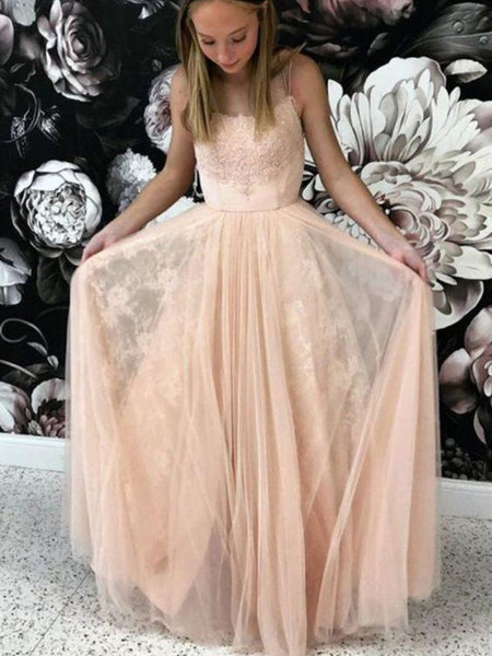 Straps Lace Tulle Long Prom Dresses, Affordable Elegant Lace Prom Dresses Long