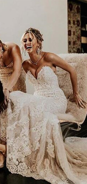 Strapless Lace Long Wedding Dresses, Sweetheart Modest Wedding Dresses
