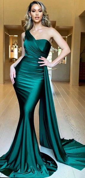 Fancy Mermaid Long Prom Dresses, Popular One Shoulder 2020 Newest Prom Dresses