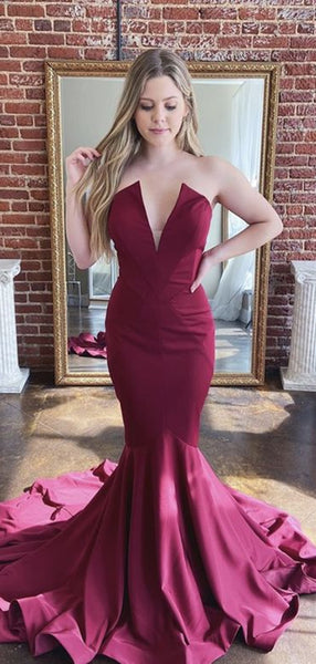 Strapless Sexy Long Prom Dresses, Evening Party Mermaid 2020 New Prom Dresses