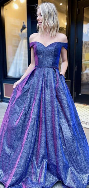 Off The Shoulder Sparkly Long Prom Dresses, Affordable 2020 Newest Prom Dresses